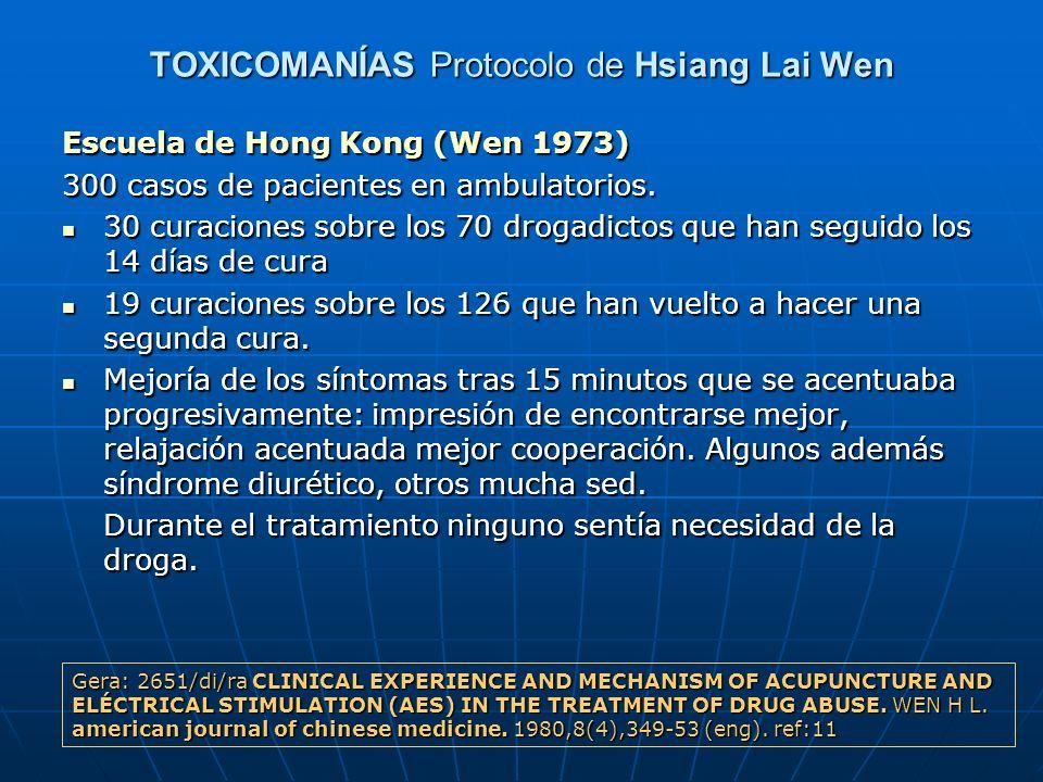 TOXICOMANÍAS Protocolo de Hsiang Lai Wen Escuela de Hong Kong (Wen 1973) 300 casos de pacientes en ambulatorios. 30 curaciones sobre los 70 drogadicto