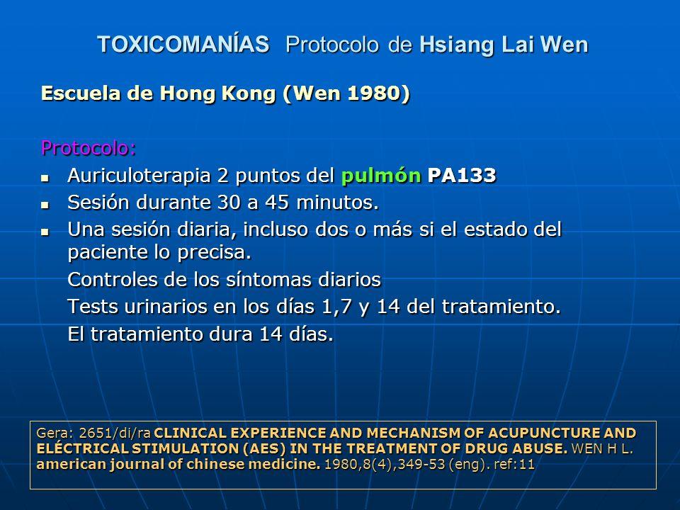TOXICOMANÍAS Protocolo de Hsiang Lai Wen Escuela de Hong Kong (Wen 1980) Protocolo: Auriculoterapia 2 puntos del pulmón PA133 Auriculoterapia 2 puntos