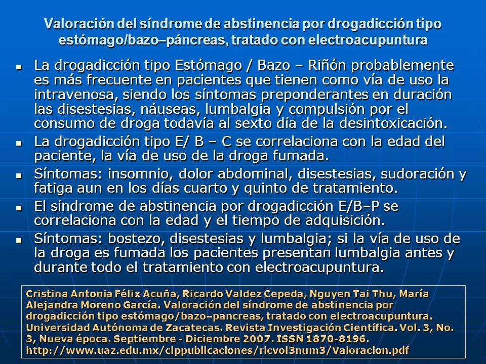 Valoración del síndrome de abstinencia por drogadicción tipo estómago/bazo–páncreas, tratado con electroacupuntura La drogadicción tipo Estómago / Baz