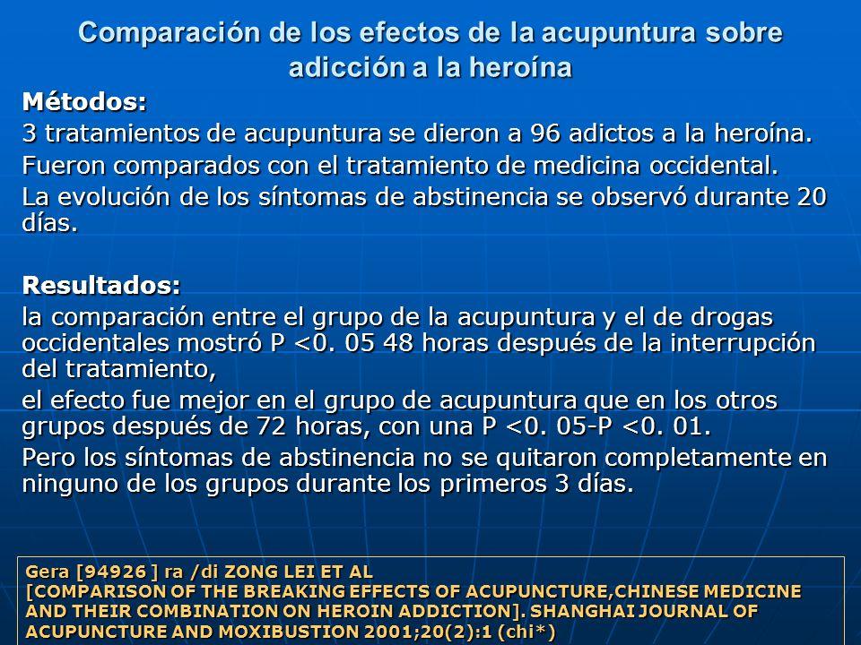 Comparación de los efectos de la acupuntura sobre adicción a la heroína Métodos: 3 tratamientos de acupuntura se dieron a 96 adictos a la heroína. Fue