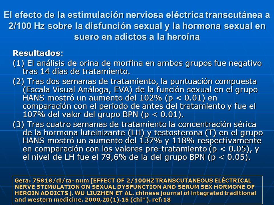 El efecto de la estimulación nerviosa eléctrica transcutánea a 2/100 Hz sobre la disfunción sexual y la hormona sexual en suero en adictos a la heroín