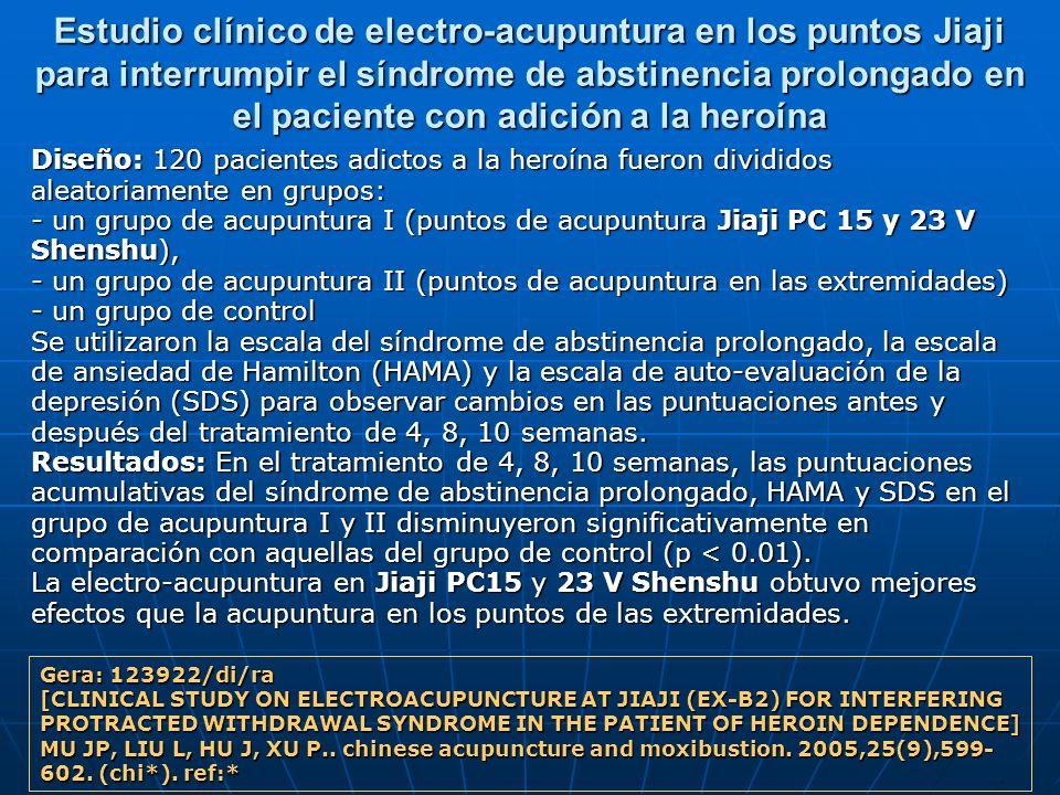 Estudio clínico de electro-acupuntura en los puntos Jiaji para interrumpir el síndrome de abstinencia prolongado en el paciente con adición a la heroí
