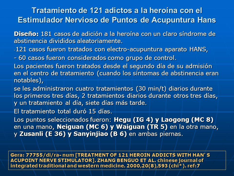 Tratamiento de 121 adictos a la heroína con el Estimulador Nervioso de Puntos de Acupuntura Hans Diseño: 181 casos de adición a la heroína con un clar
