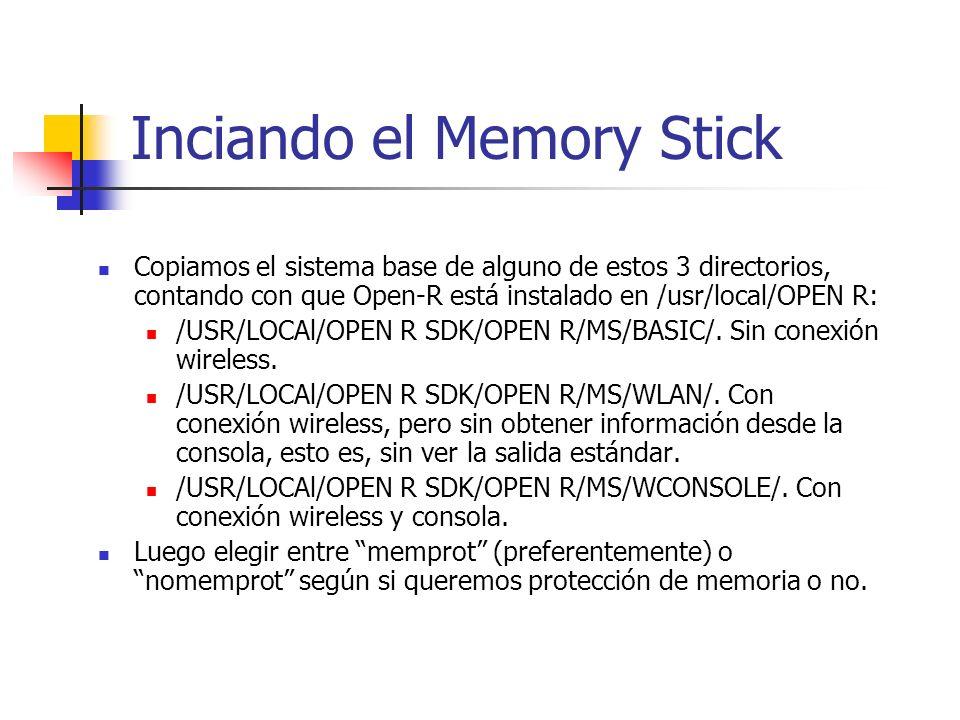 Inciando el Memory Stick Copiamos el sistema base de alguno de estos 3 directorios, contando con que Open-R está instalado en /usr/local/OPEN R: /USR/