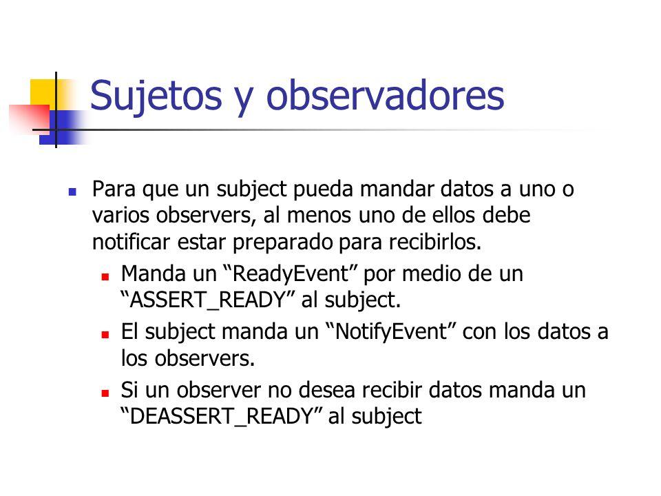 Sujetos y observadores Para que un subject pueda mandar datos a uno o varios observers, al menos uno de ellos debe notificar estar preparado para reci