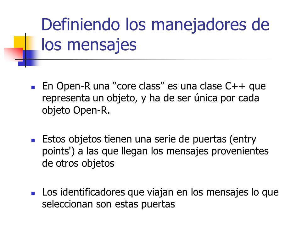 Definiendo los manejadores de los mensajes En Open-R una core class es una clase C++ que representa un objeto, y ha de ser única por cada objeto Open-