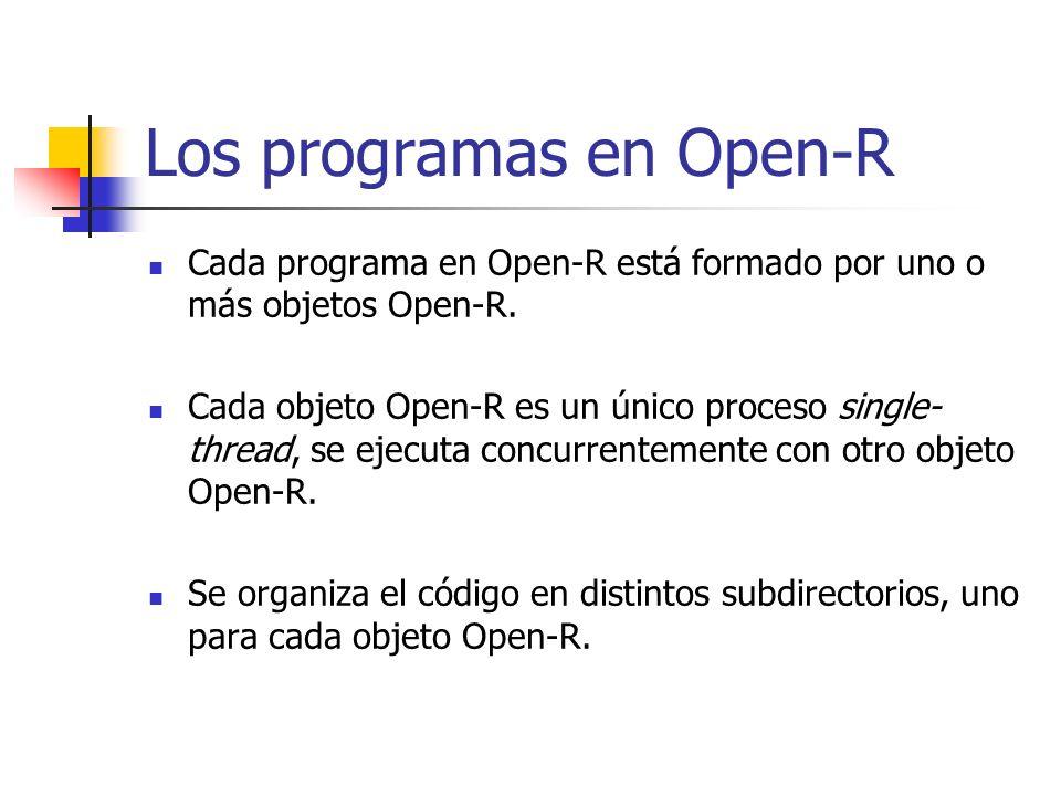 Los programas en Open-R Cada programa en Open-R está formado por uno o más objetos Open-R. Cada objeto Open-R es un único proceso single- thread, se e