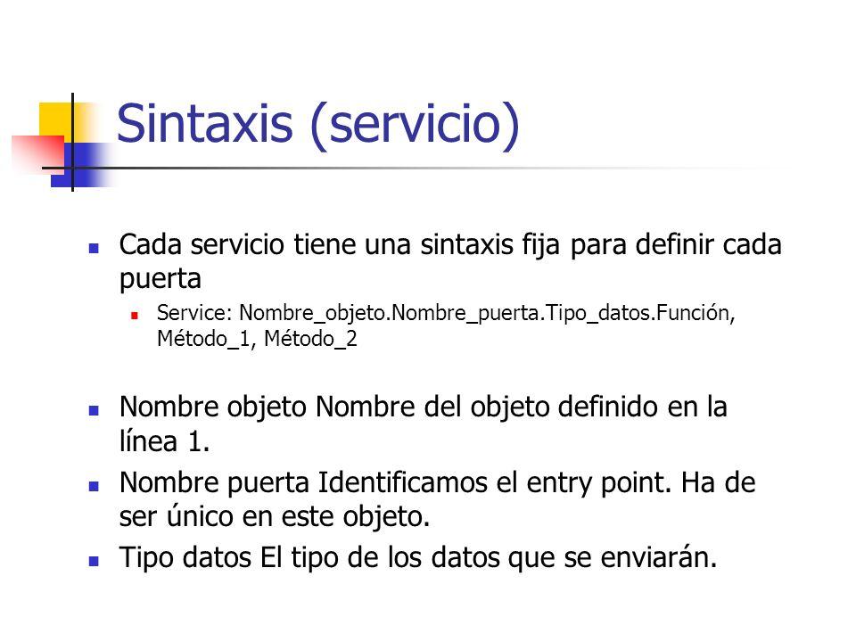 Sintaxis (servicio) Cada servicio tiene una sintaxis fija para definir cada puerta Service: Nombre_objeto.Nombre_puerta.Tipo_datos.Función, Método_1,