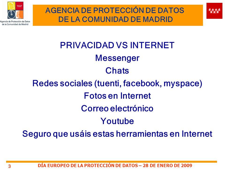 DÍA EUROPEO DE LA PROTECCIÓN DE DATOS – 28 DE ENERO DE 2009 3 AGENCIA DE PROTECCIÓN DE DATOS DE LA COMUNIDAD DE MADRID PRIVACIDAD VS INTERNET Messenge