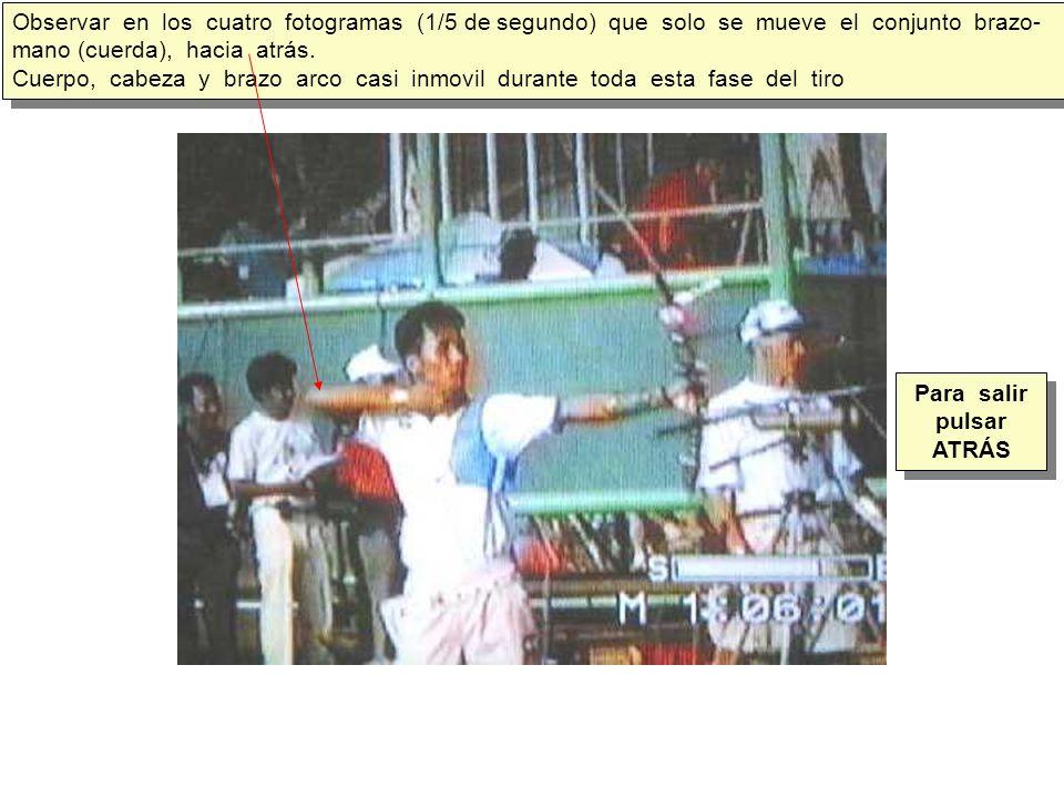 Observar en los cuatro fotogramas (1/5 de segundo) que solo se mueve el conjunto brazo- mano (cuerda), hacia atrás.
