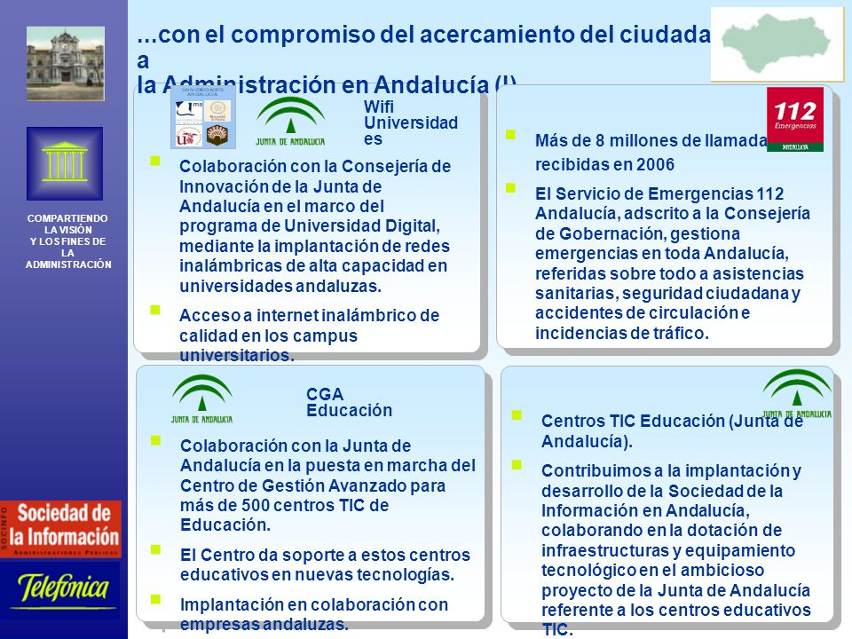 COMPARTIENDO LA VISIÓN Y LOS FINES DE LA ADMINISTRACIÓN Telefónica España 20...con el compromiso del acercamiento del ciudadano a la Administración en Andalucía (I)...