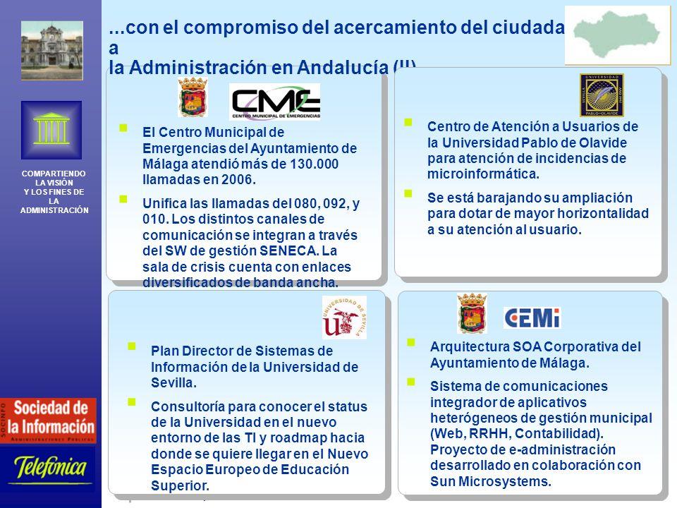 COMPARTIENDO LA VISIÓN Y LOS FINES DE LA ADMINISTRACIÓN Telefónica España 21...con el compromiso del acercamiento del ciudadano a la Administración en Andalucía (II)...