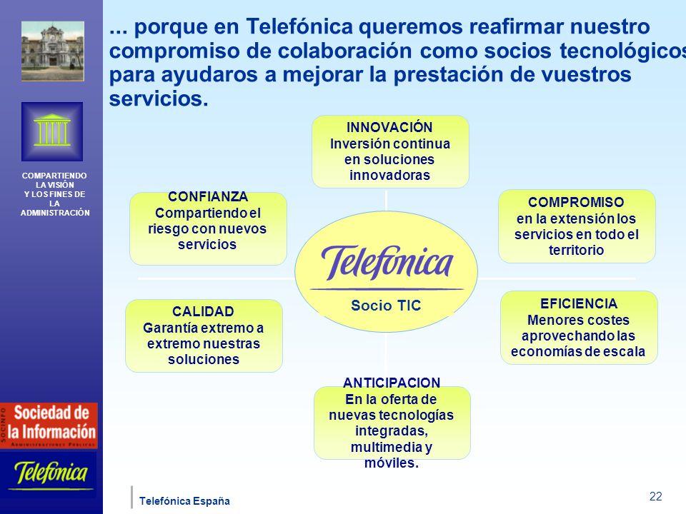 COMPARTIENDO LA VISIÓN Y LOS FINES DE LA ADMINISTRACIÓN Telefónica España 22...