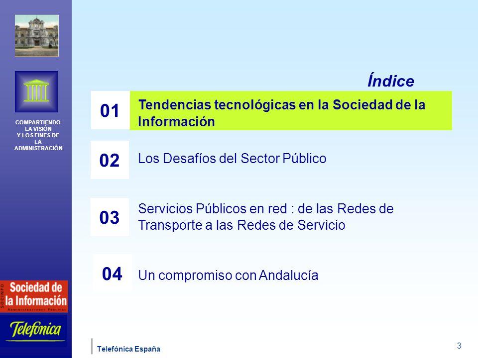 COMPARTIENDO LA VISIÓN Y LOS FINES DE LA ADMINISTRACIÓN Telefónica España 4 Los indicadores de adopción de las Nuevas Tecnologías en España muestran que...