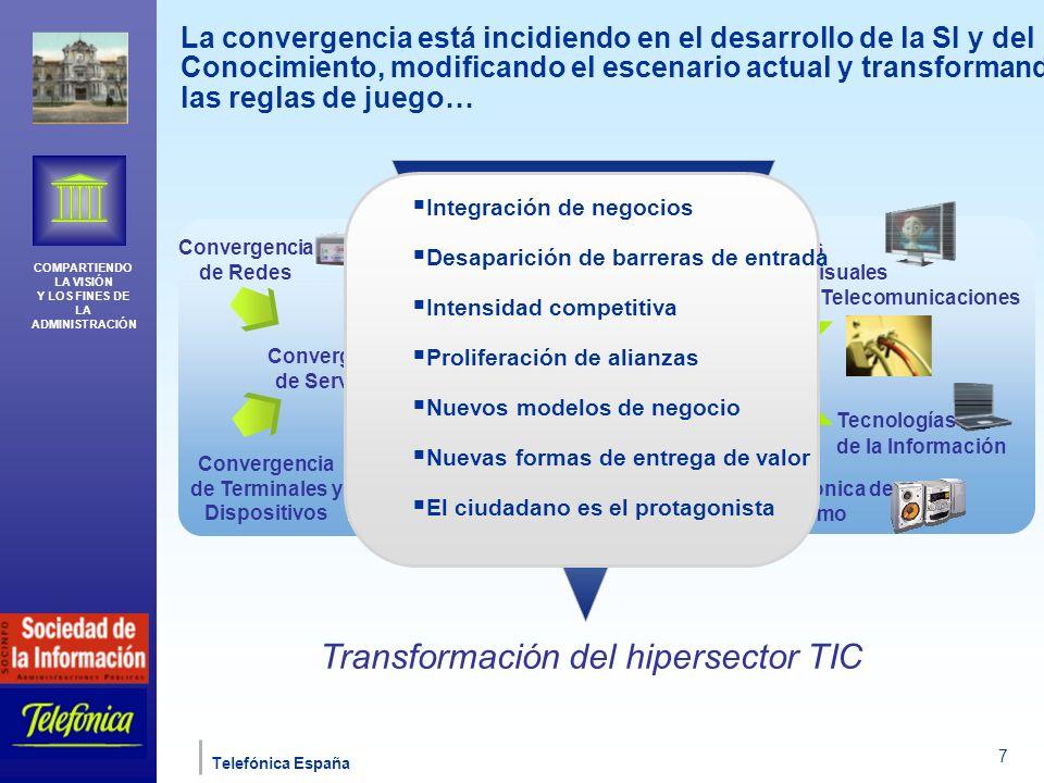 COMPARTIENDO LA VISIÓN Y LOS FINES DE LA ADMINISTRACIÓN Telefónica España 7 La convergencia está incidiendo en el desarrollo de la SI y del Conocimiento, modificando el escenario actual y transformando las reglas de juego… Transformación del hipersector TIC Medios audiovisuales Telecomunicaciones Tecnologías de la Información Electrónica de consumo Convergencia de Redes Convergencia de Terminales y Dispositivos Convergencia de Servicios Convergencia de Negocios Integración de negocios Desaparición de barreras de entrada Intensidad competitiva Proliferación de alianzas Nuevos modelos de negocio Nuevas formas de entrega de valor El ciudadano es el protagonista