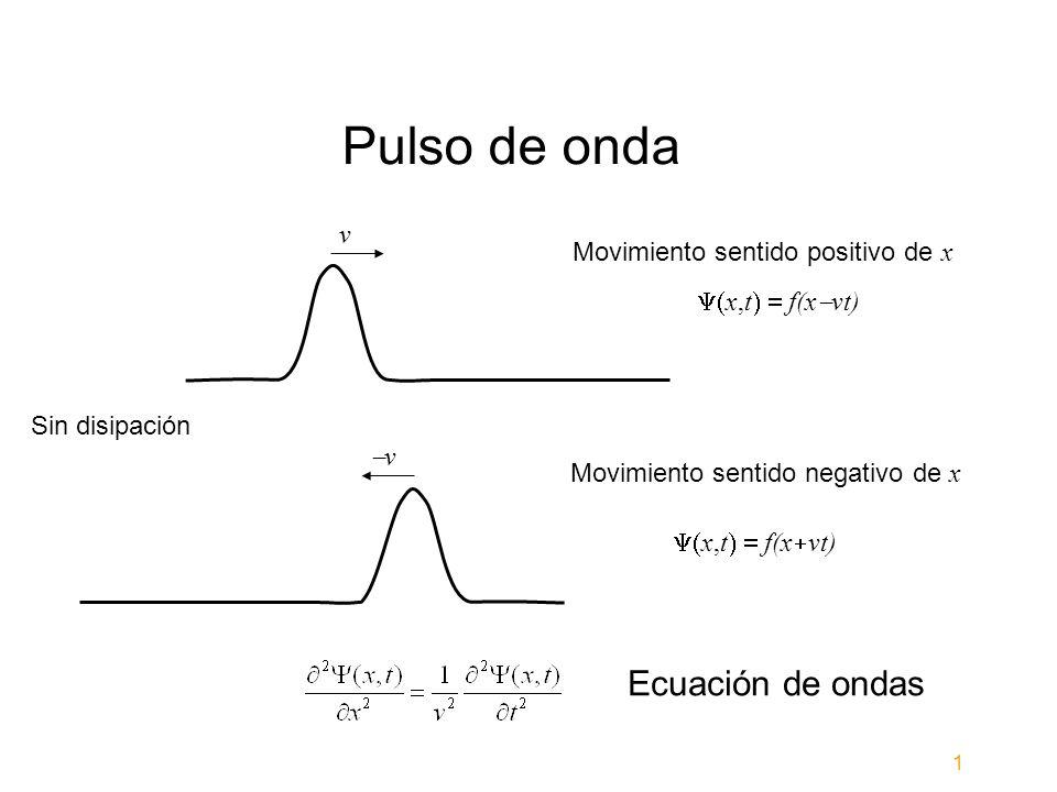 Pulso de onda v x,t f(x vt) Movimiento sentido positivo de x v x,t f(x vt) Movimiento sentido negativo de x Ecuación de ondas Sin disipación 1