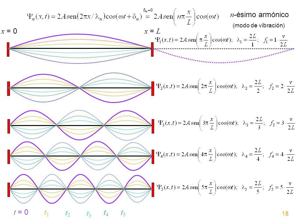 x = 0 x = L t = 0 t1t1 t2t2 t3t3 t4t4 t5t5 n -ésimo armónico (modo de vibración) 18