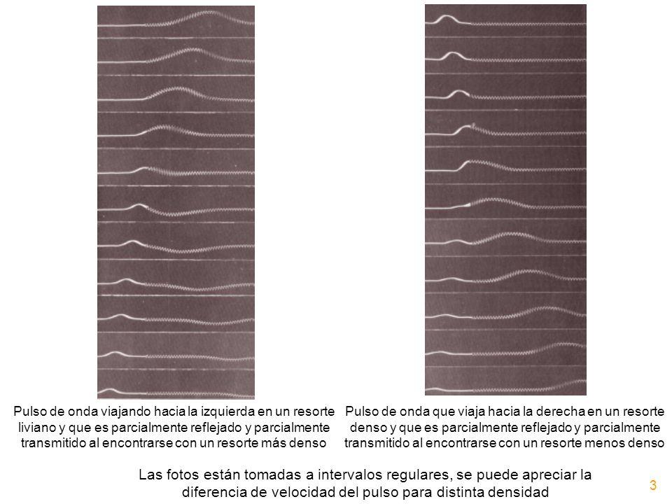Pulso de onda viajando hacia la izquierda en un resorte liviano y que es parcialmente reflejado y parcialmente transmitido al encontrarse con un resor