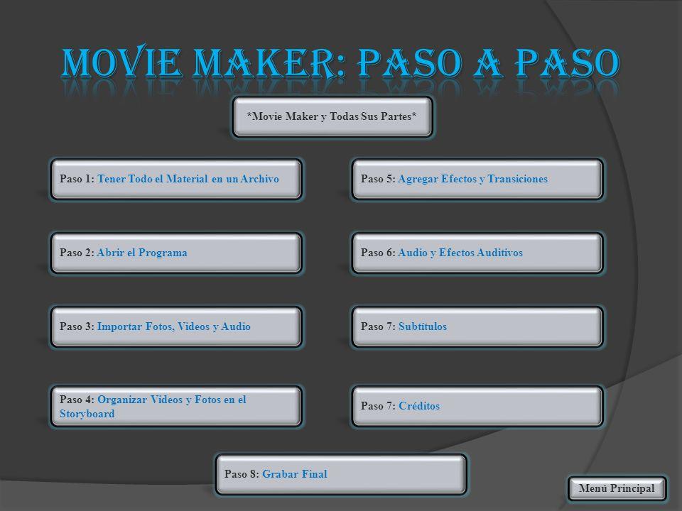 Paso 1: Tener Todo el Material en un Archivo Paso 2: Abrir el Programa Paso 3: Importar Fotos, Videos y Audio Paso 4: Organizar Videos y Fotos en el S