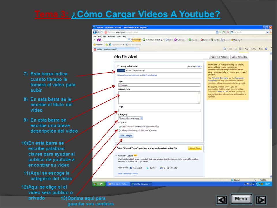 Tema 3: ¿Cómo Cargar Videos A Youtube.