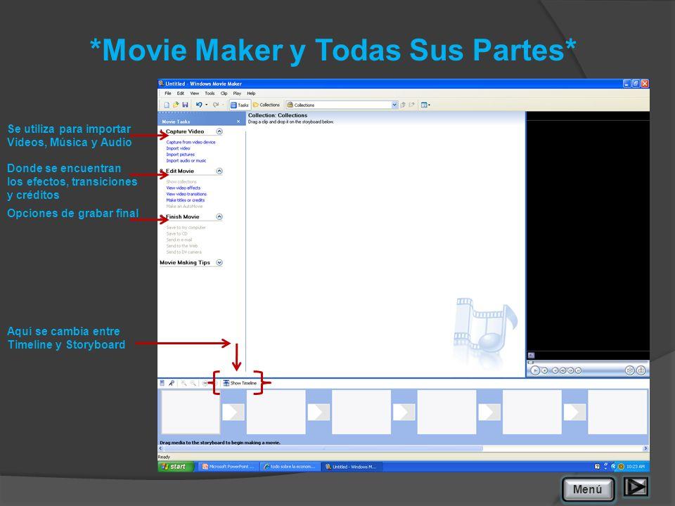 *Movie Maker y Todas Sus Partes* Se utiliza para importar Videos, Música y Audio Donde se encuentran los efectos, transiciones y créditos Opciones de grabar final Aquí se cambia entre Timeline y Storyboard Menú