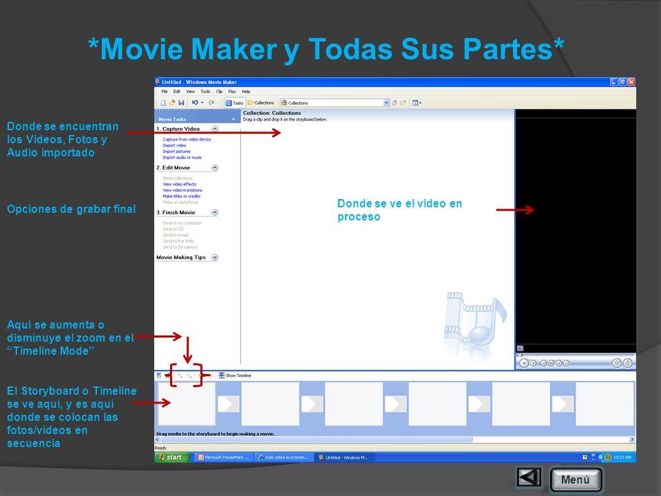 *Movie Maker y Todas Sus Partes* Donde se encuentran los Videos, Fotos y Audio importado Opciones de grabar final Aquí se aumenta o disminuye el zoom
