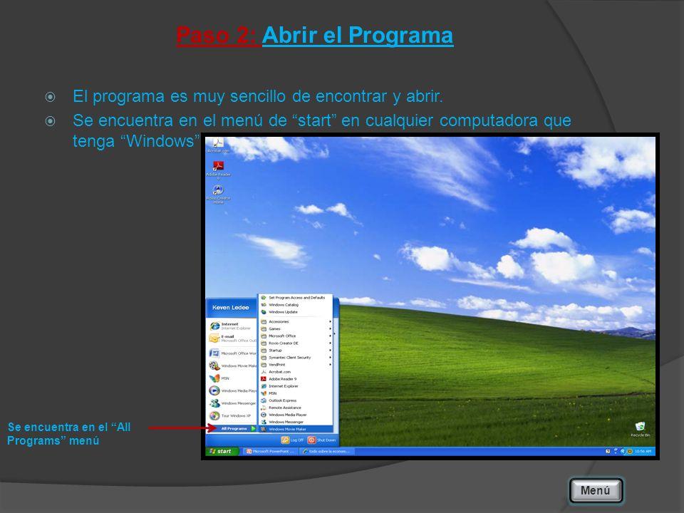 Paso 2: Abrir el Programa El programa es muy sencillo de encontrar y abrir. Se encuentra en el menú de start en cualquier computadora que tenga Window