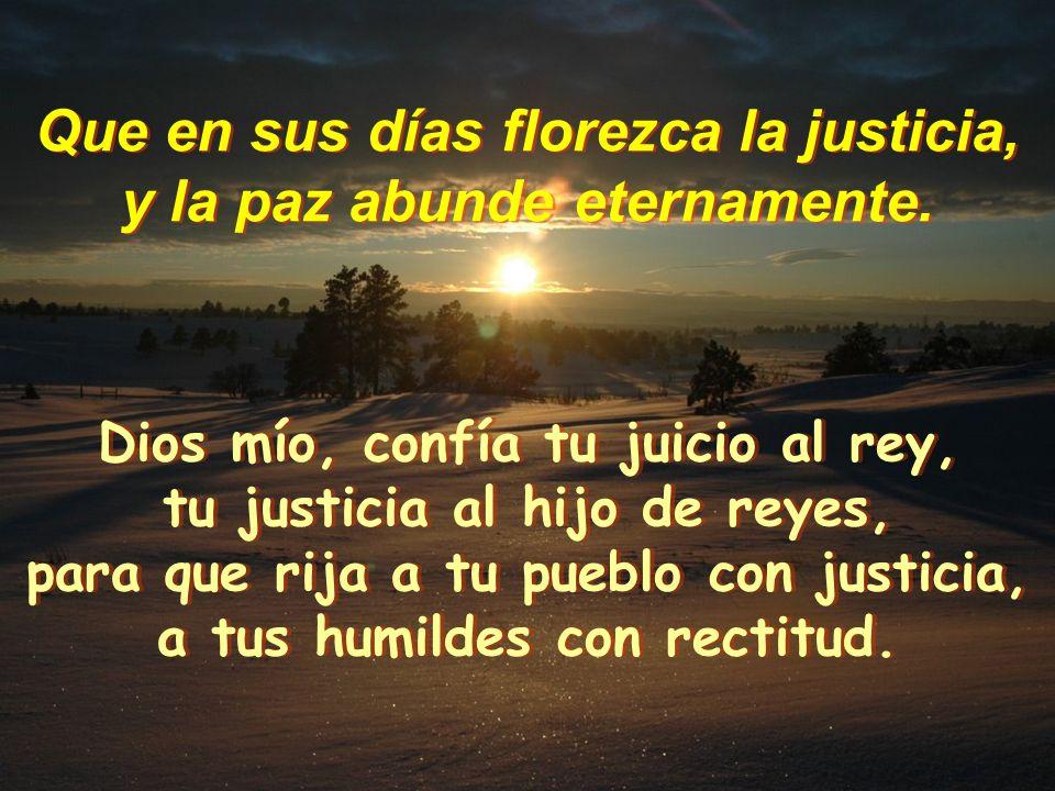 SALMO (71) SALMO (71) Que en sus días florezca la justicia, y la paz abunde eternamente. Que en sus días florezca la justicia, y la paz abunde eternam