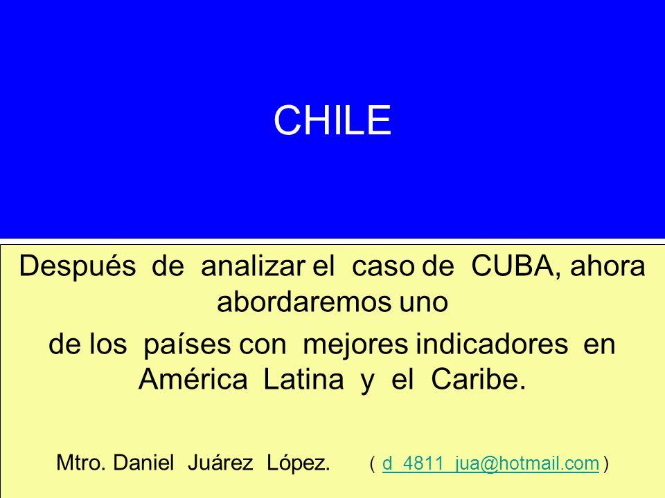 CHILE Después de analizar el caso de CUBA, ahora abordaremos uno de los países con mejores indicadores en América Latina y el Caribe. Mtro. Daniel Juá