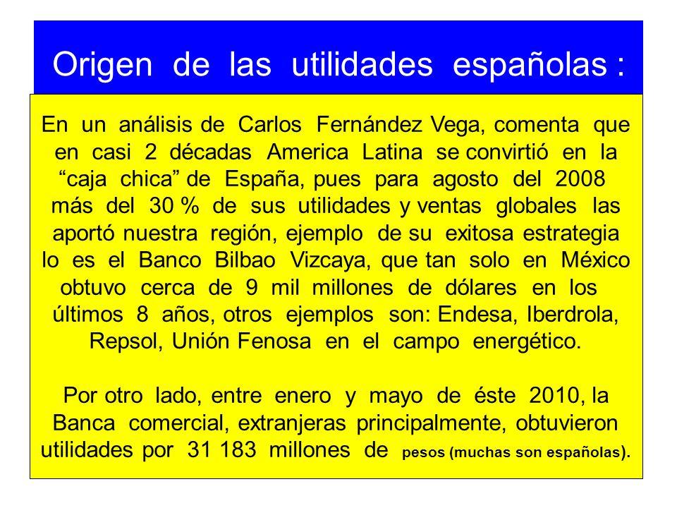 Origen de las utilidades españolas : En un análisis de Carlos Fernández Vega, comenta que en casi 2 décadas America Latina se convirtió en la caja chi