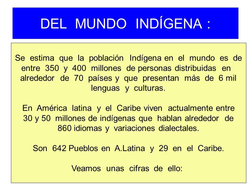 DEL MUNDO INDÍGENA : Se estima que la población Indígena en el mundo es de entre 350 y 400 millones de personas distribuidas en alrededor de 70 países