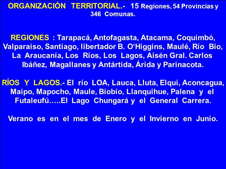 ORGANIZACIÓN TERRITORIAL.- 15 Regiones, 54 Provincias y 346 Comunas. REGIONES : Tarapacá, Antofagasta, Atacama, Coquimbó, Valparaíso, Santiago, libert