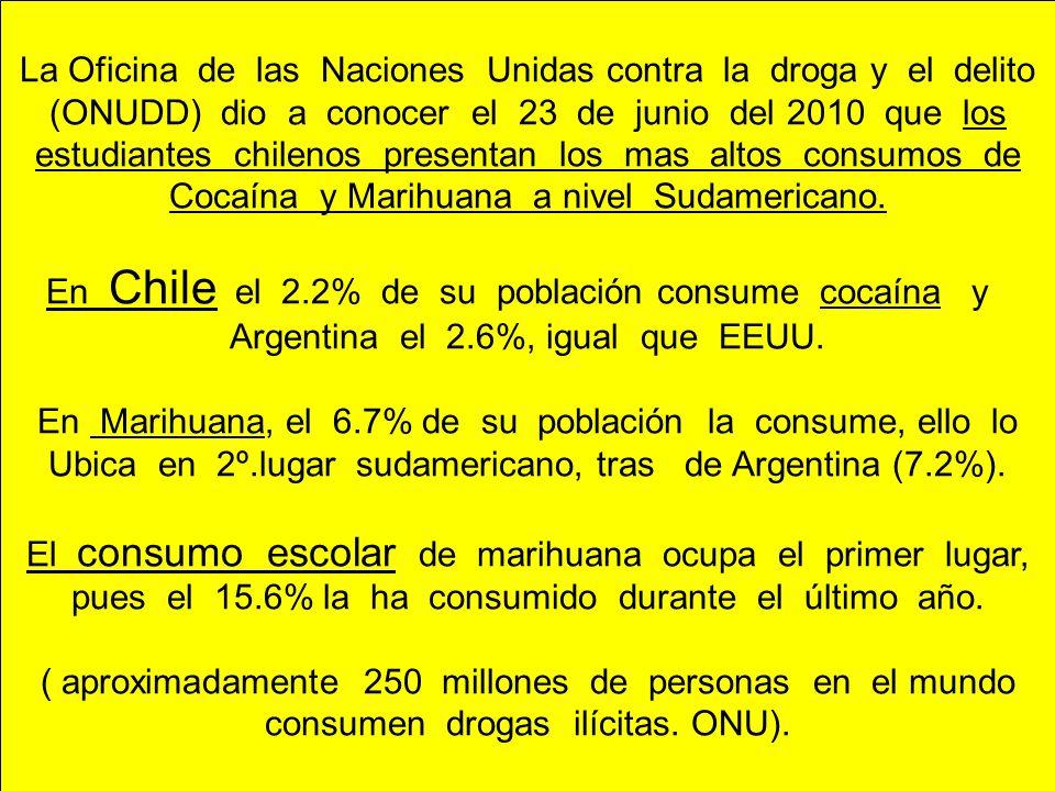 La Oficina de las Naciones Unidas contra la droga y el delito (ONUDD) dio a conocer el 23 de junio del 2010 que los estudiantes chilenos presentan los