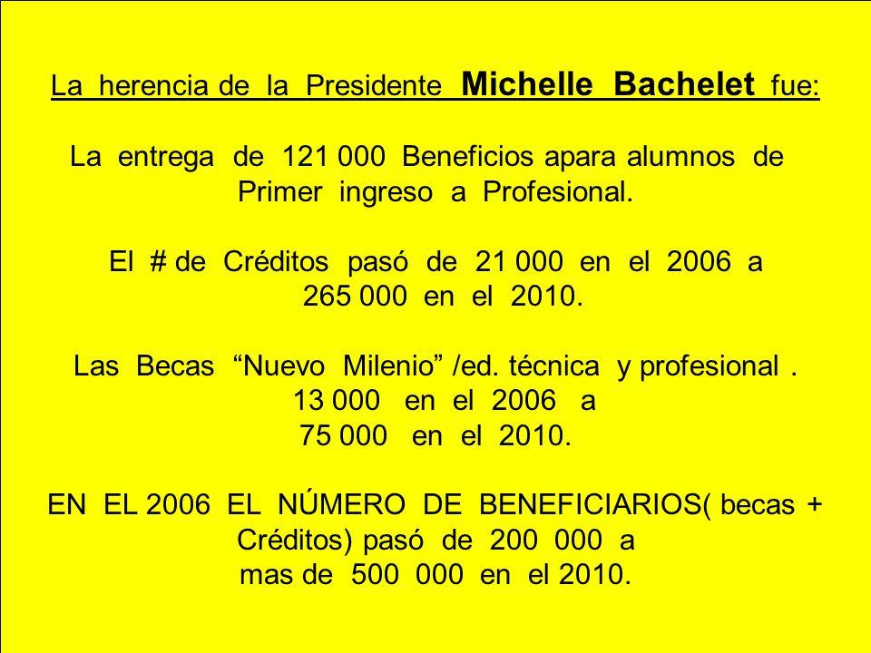 La herencia de la Presidente Michelle Bachelet fue: La entrega de 121 000 Beneficios apara alumnos de Primer ingreso a Profesional. El # de Créditos p