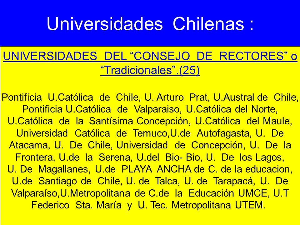 Universidades Chilenas : UNIVERSIDADES DEL CONSEJO DE RECTORES o Tradicionales.(25) Pontificia U.Católica de Chile, U. Arturo Prat, U.Austral de Chile