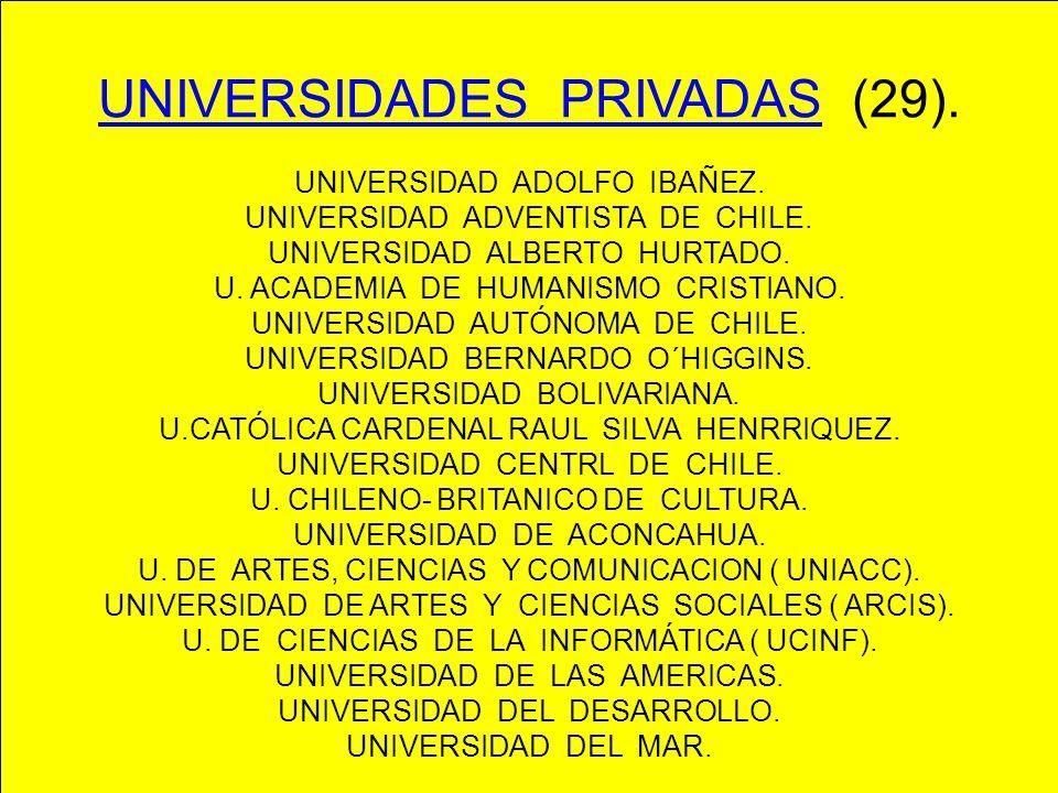 UNIVERSIDADES PRIVADAS (29). UNIVERSIDAD ADOLFO IBAÑEZ. UNIVERSIDAD ADVENTISTA DE CHILE. UNIVERSIDAD ALBERTO HURTADO. U. ACADEMIA DE HUMANISMO CRISTIA