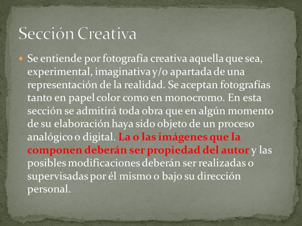 Se entiende por fotografía creativa aquella que sea, experimental, imaginativa y/o apartada de una representación de la realidad.