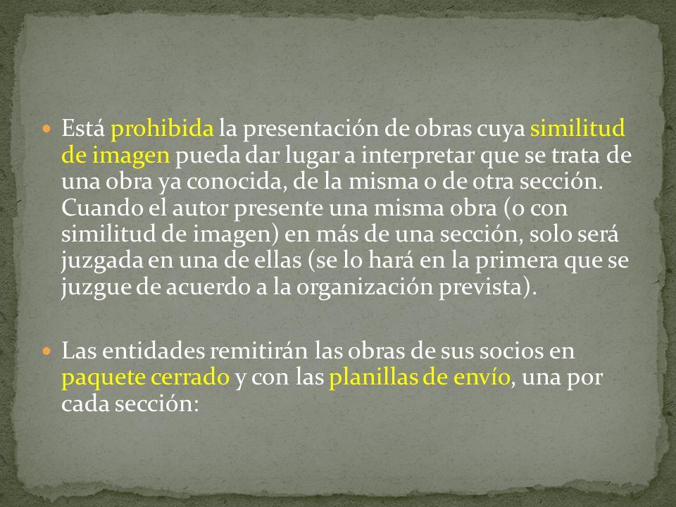 Está prohibida la presentación de obras cuya similitud de imagen pueda dar lugar a interpretar que se trata de una obra ya conocida, de la misma o de otra sección.