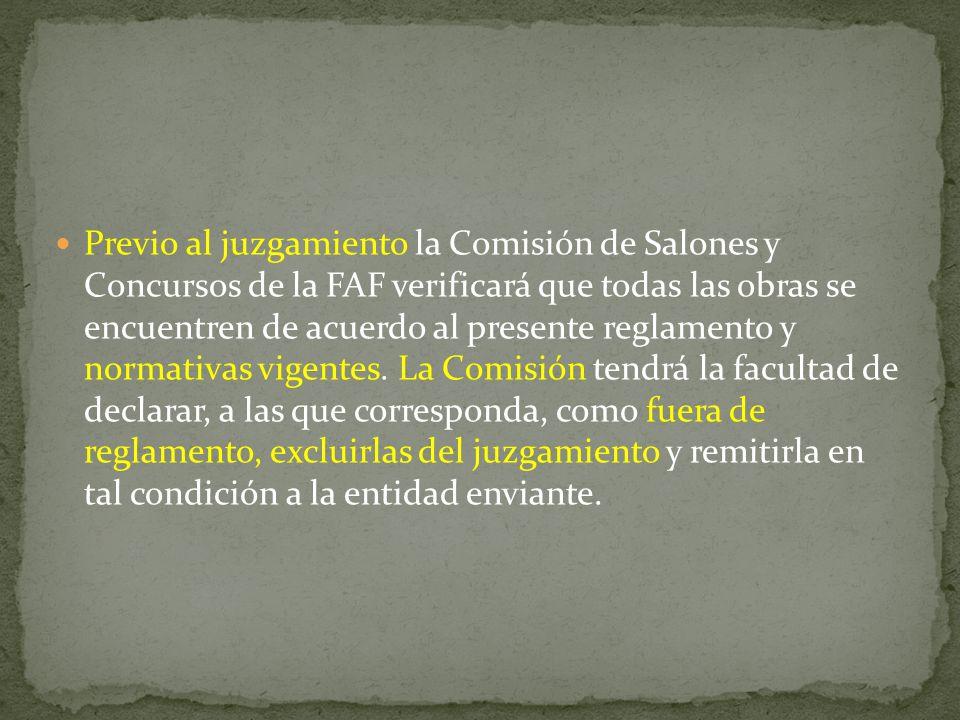 El Comité Central de la Federación Argentina de Fotografía se reserva el derecho de resolver en forma inapelable cualquier interpretación de las cláusulas de este reglamento y toda situación no prevista en el mismo Los Jurados FAF tendrá la facultad de declarar cualquier obra como fuera de reglamento.