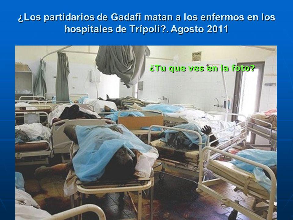 ¿Los partidarios de Gadafi matan a los enfermos en los hospitales de Trípoli?. Agosto 2011 ¿Tu que ves en la foto?