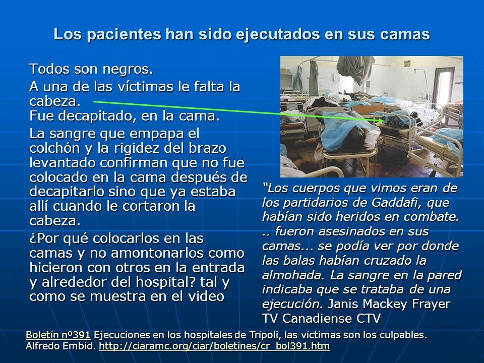 Los pacientes han sido ejecutados en sus camas Todos son negros. A una de las víctimas le falta la cabeza. Fue decapitado, en la cama. La sangre que e