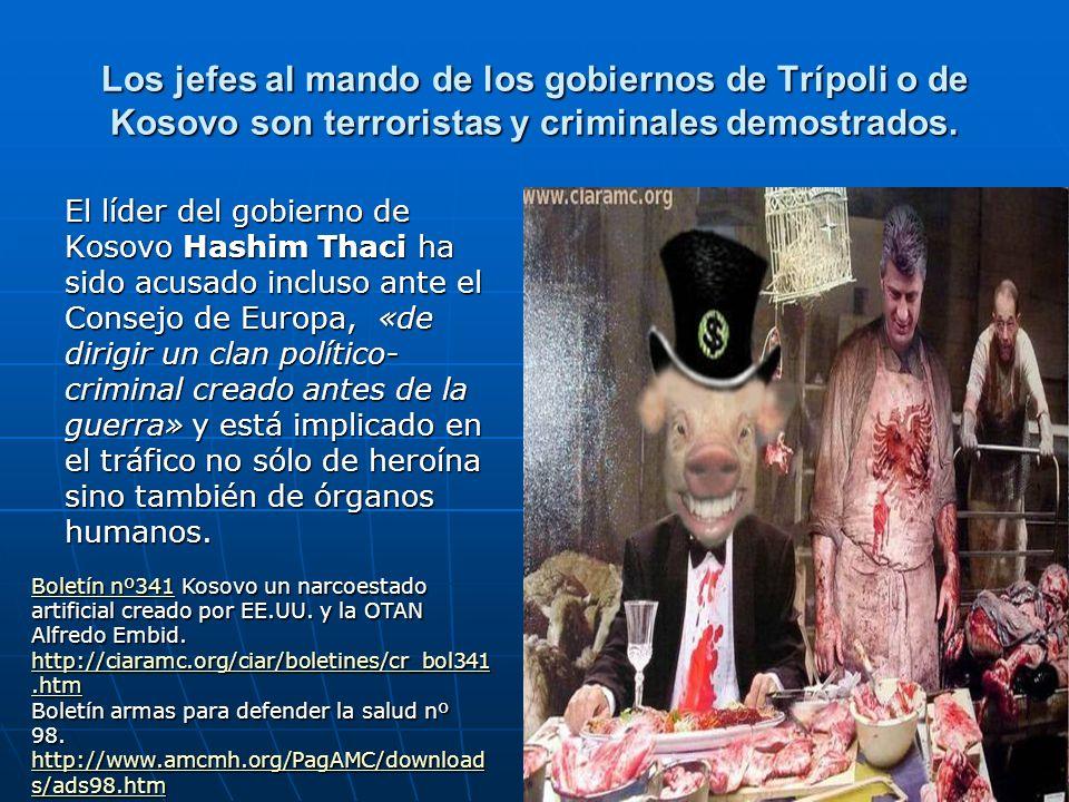 Los jefes al mando de los gobiernos de Trípoli o de Kosovo son terroristas y criminales demostrados. El líder del gobierno de Kosovo Hashim Thaci ha s