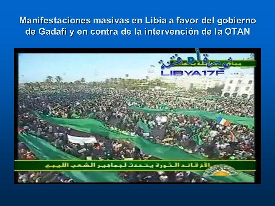 Manifestaciones masivas en Libia a favor del gobierno de Gadafi y en contra de la intervención de la OTAN