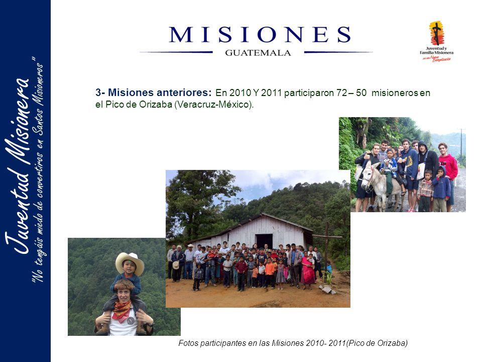 Fotos participantes en las Misiones 2010- 2011(Pico de Orizaba) 3- Misiones anteriores: En 2010 Y 2011 participaron 72 – 50 misioneros en el Pico de Orizaba (Veracruz-México).