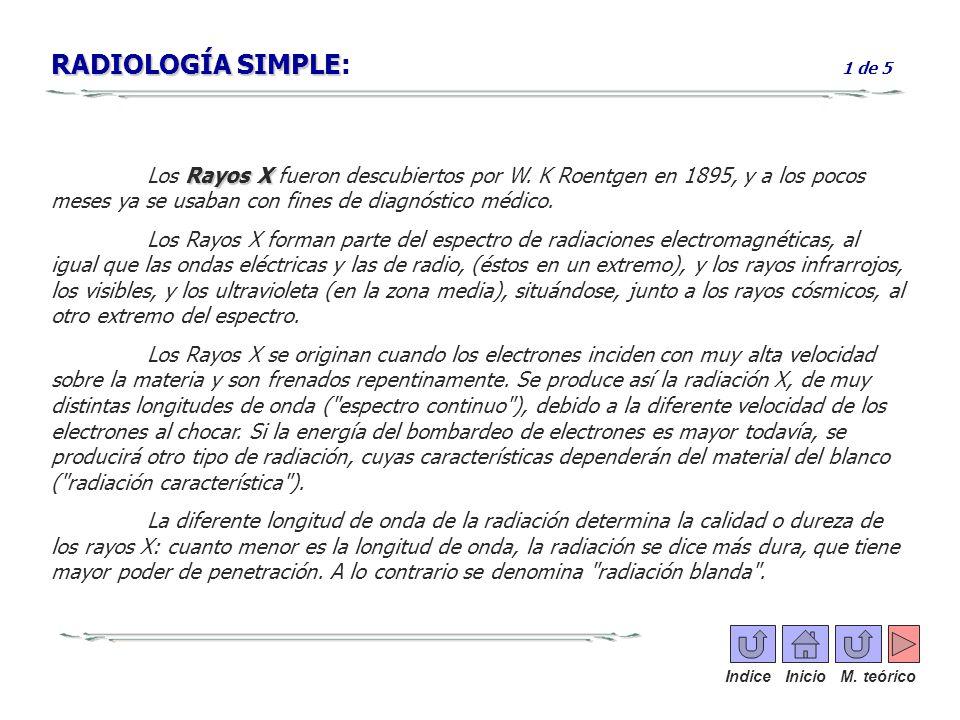RADIOLOGÍA SIMPLE RADIOLOGÍA SIMPLE: 1 de 5 Rayos X Los Rayos X fueron descubiertos por W. K Roentgen en 1895, y a los pocos meses ya se usaban con fi