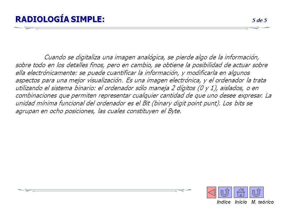 RADIOLOGÍA SIMPLE RADIOLOGÍA SIMPLE: 5 de 5 Cuando se digitaliza una imagen analógica, se pierde algo de la información, sobre todo en los detalles fi