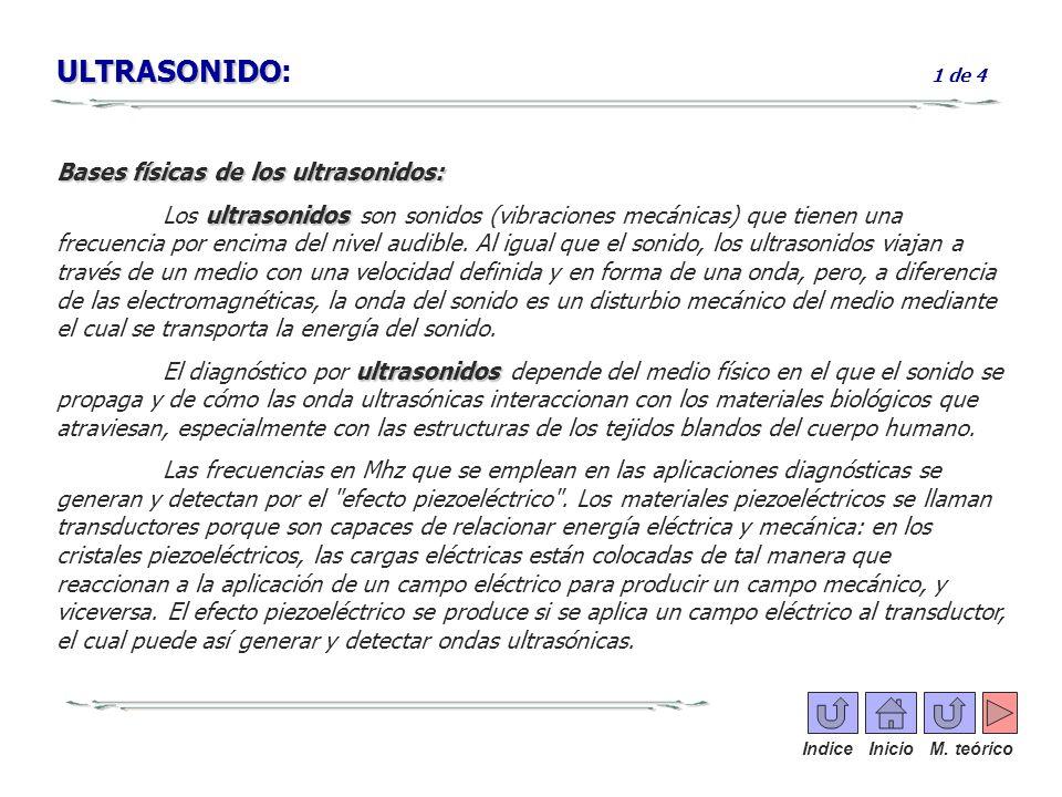 ULTRASONIDO ULTRASONIDO: 1 de 4 Bases físicas de los ultrasonidos: ultrasonidos Los ultrasonidos son sonidos (vibraciones mecánicas) que tienen una fr