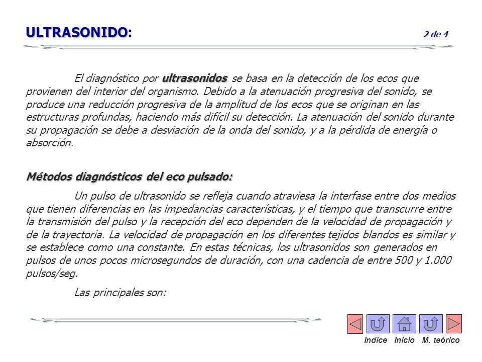 ULTRASONIDO ULTRASONIDO: 2 de 4 ultrasonidos El diagnóstico por ultrasonidos se basa en la detección de los ecos que provienen del interior del organi