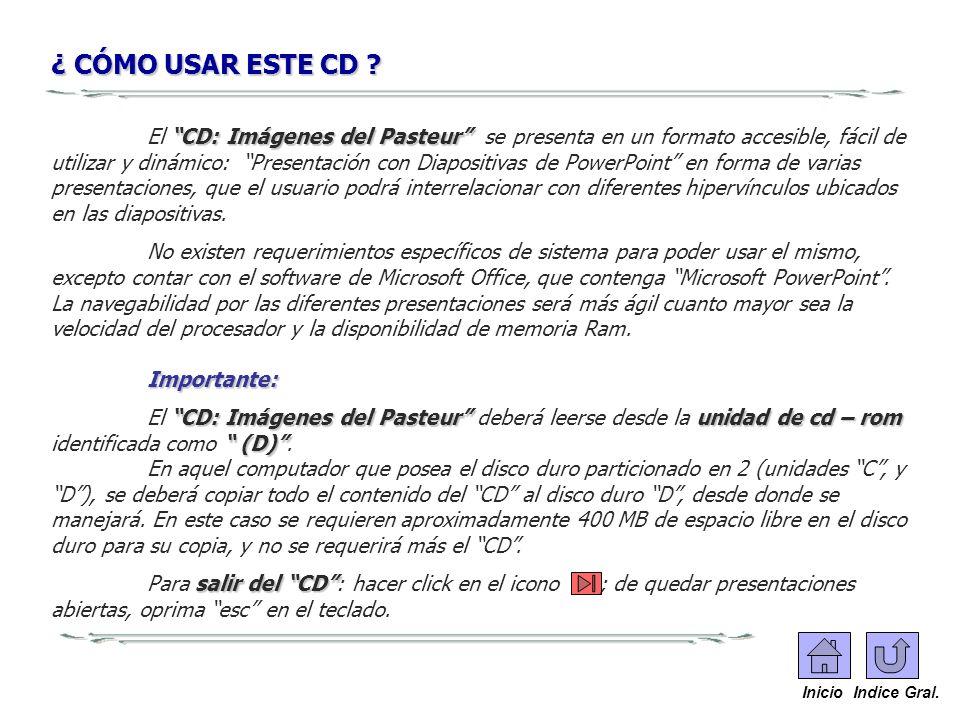 ¿ CÓMO USAR ESTE CD ? CD:Imágenes del Pasteur El CD: Imágenes del Pasteur se presenta en un formato accesible, fácil de utilizar y dinámico: Presentac