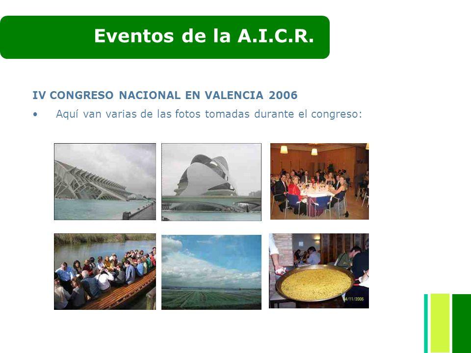 IV CONGRESO NACIONAL EN VALENCIA 2006 Aquí van varias de las fotos tomadas durante el congreso: Eventos de la A.I.C.R.